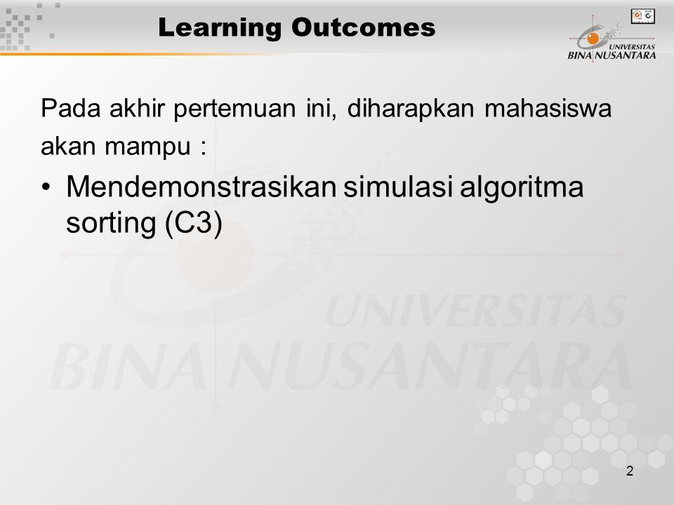 2 Learning Outcomes Pada akhir pertemuan ini, diharapkan mahasiswa akan mampu : Mendemonstrasikan simulasi algoritma sorting (C3)