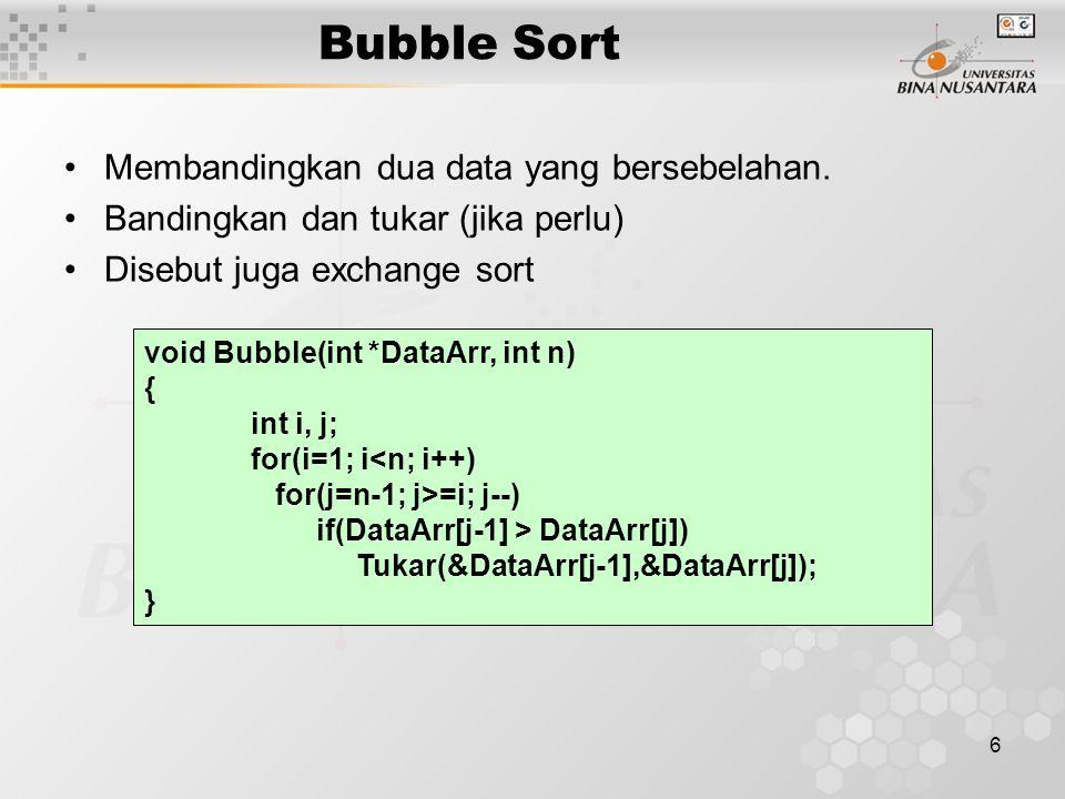 6 Bubble Sort Membandingkan dua data yang bersebelahan.