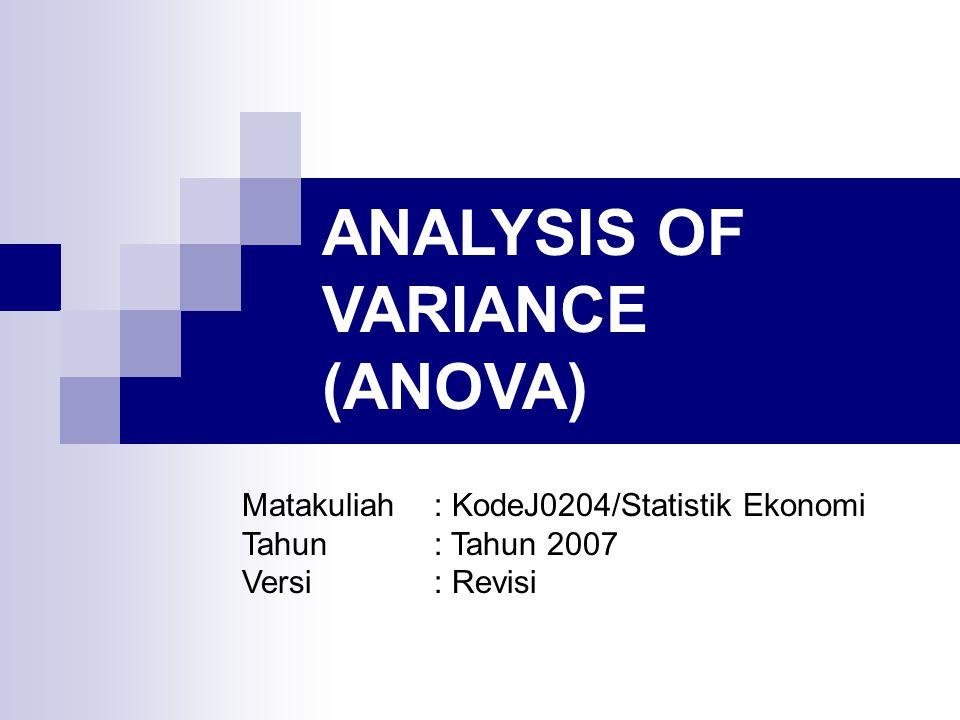 ANALYSIS OF VARIANCE (ANOVA) ANOVA dapat digunakan untuk menguji kesaman 3 (tiga) atau lebih rata-rata populasi menggunakan data yang diperoleh dari pengamatan maupun percobaan.