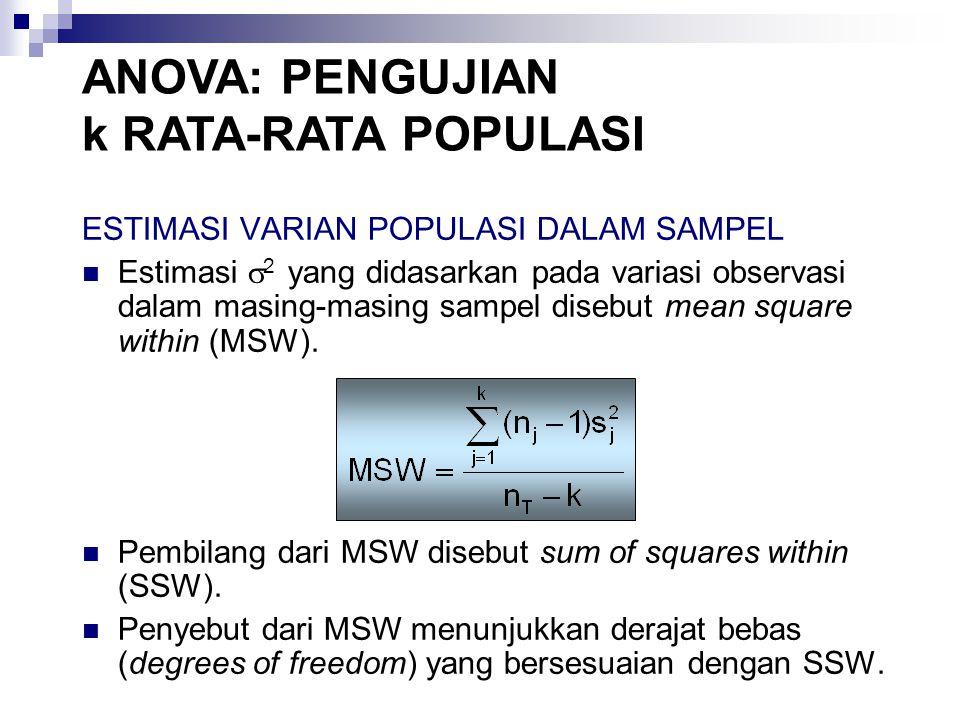ESTIMASI VARIAN POPULASI DALAM SAMPEL Estimasi  2 yang didasarkan pada variasi observasi dalam masing-masing sampel disebut mean square within (MSW).