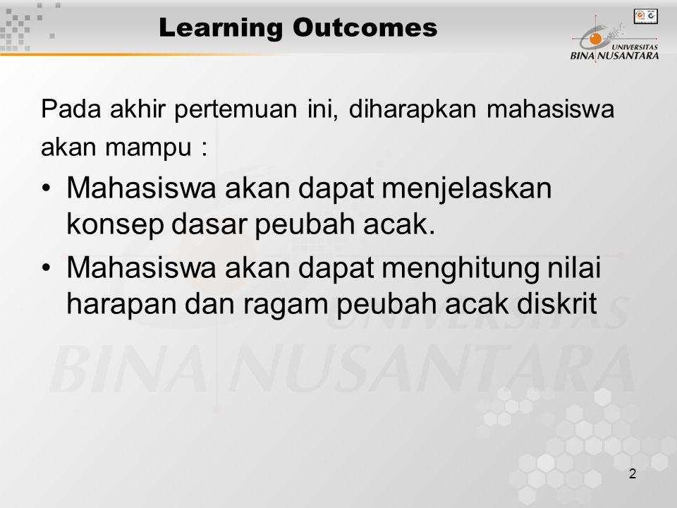 2 Learning Outcomes Pada akhir pertemuan ini, diharapkan mahasiswa akan mampu : Mahasiswa akan dapat menjelaskan konsep dasar peubah acak. Mahasiswa a
