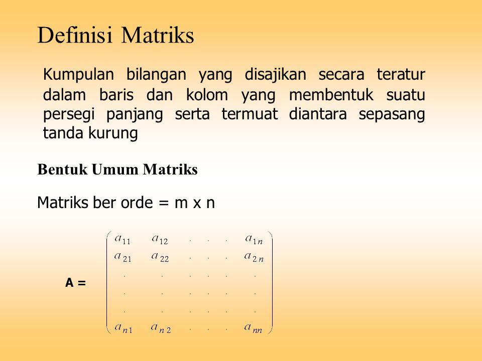 Definisi Matriks Kumpulan bilangan yang disajikan secara teratur dalam baris dan kolom yang membentuk suatu persegi panjang serta termuat diantara sep