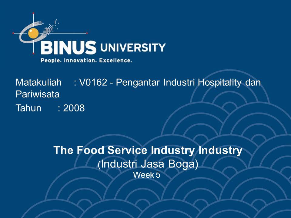 The Food Service Industry Industry ( Industri Jasa Boga) Week 5 Matakuliah: V0162 - Pengantar Industri Hospitality dan Pariwisata Tahun: 2008