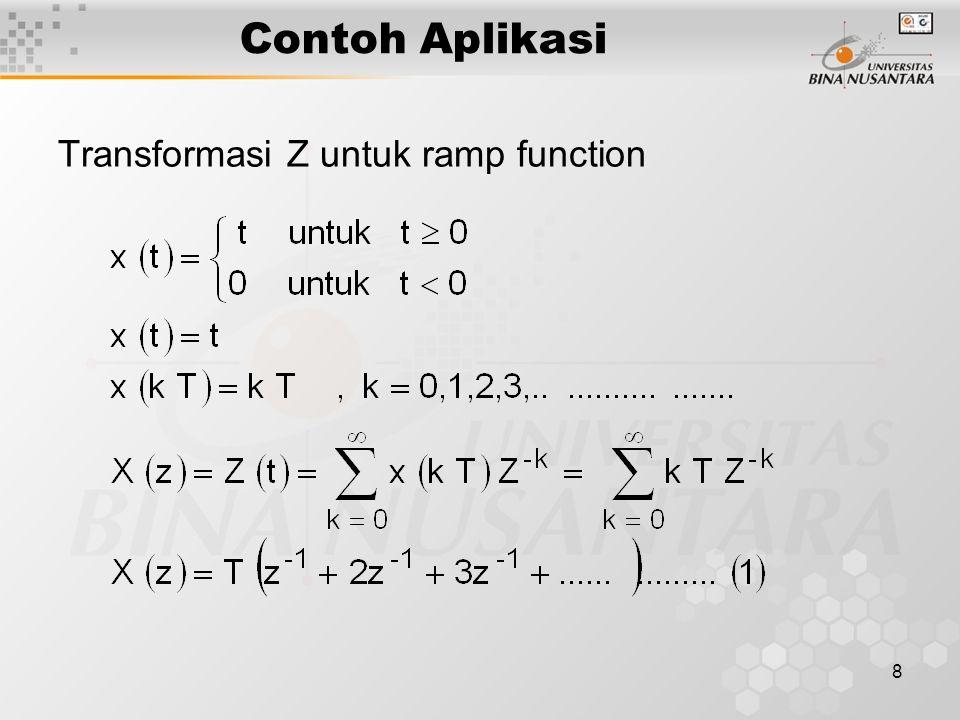 8 Contoh Aplikasi Transformasi Z untuk ramp function