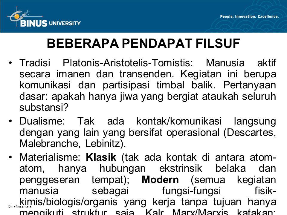 Bina Nusantara BEBERAPA PENDAPAT FILSUF Tradisi Platonis-Aristotelis-Tomistis: Manusia aktif secara imanen dan transenden.