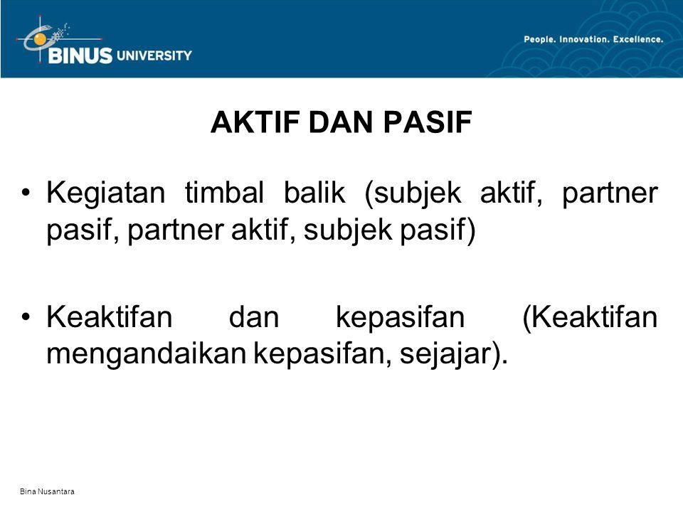 Bina Nusantara AKTIF DAN PASIF Kegiatan timbal balik (subjek aktif, partner pasif, partner aktif, subjek pasif) Keaktifan dan kepasifan (Keaktifan mengandaikan kepasifan, sejajar).