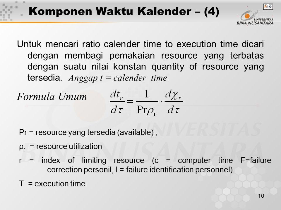 10 Komponen Waktu Kalender – (4) Untuk mencari ratio calender time to execution time dicari dengan membagi pemakaian resource yang terbatas dengan sua