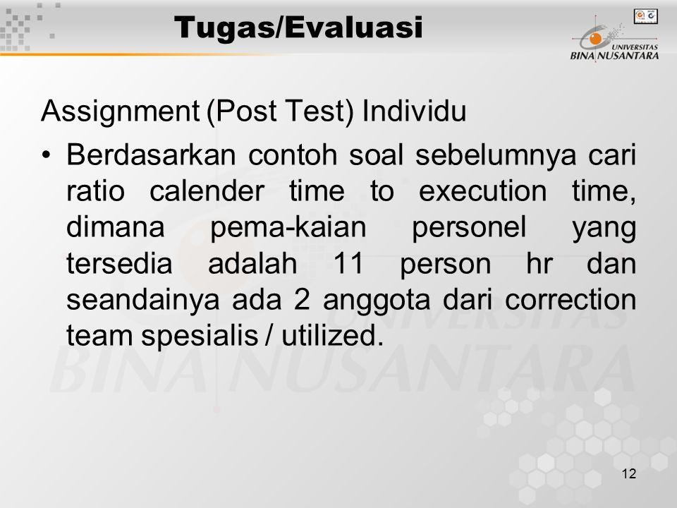 12 Tugas/Evaluasi Assignment (Post Test) Individu Berdasarkan contoh soal sebelumnya cari ratio calender time to execution time, dimana pema-kaian per