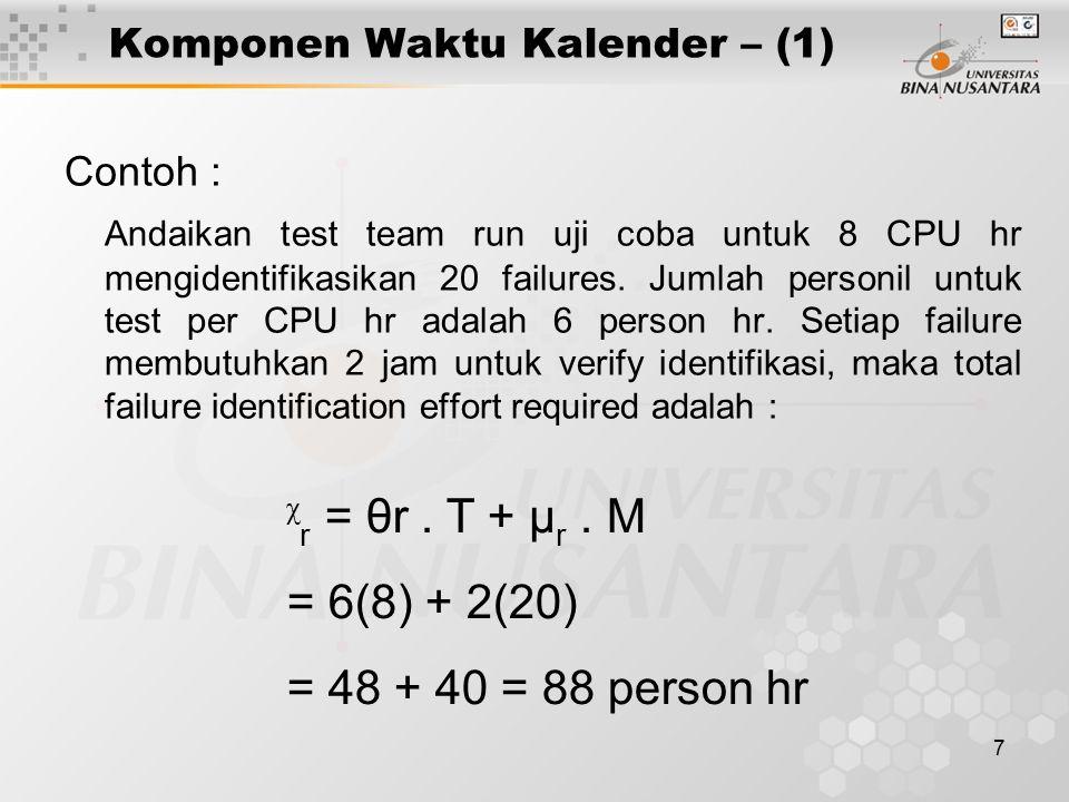 7 Komponen Waktu Kalender – (1) Contoh : Andaikan test team run uji coba untuk 8 CPU hr mengidentifikasikan 20 failures. Jumlah personil untuk test pe