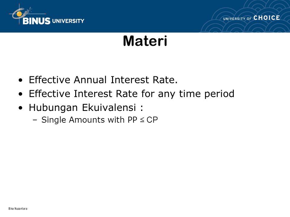 Bina Nusantara Nominal & Effective Interest Rate Nominal dan Effective Rate mempunyai hubungan dasar yang sama dengan simple interest dan compound interest.