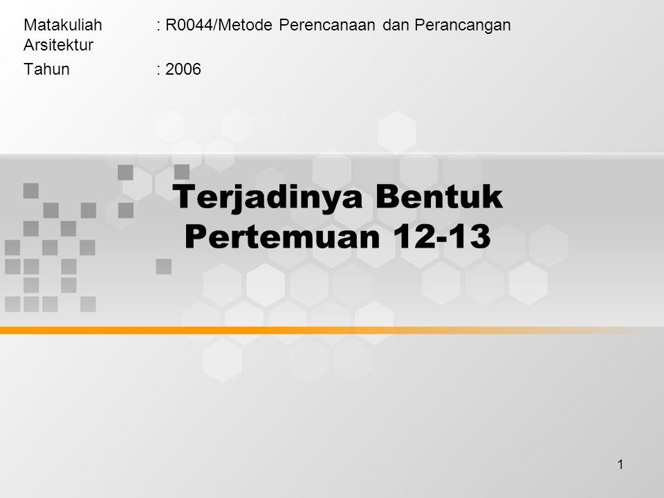 1 Terjadinya Bentuk Pertemuan 12-13 Matakuliah: R0044/Metode Perencanaan dan Perancangan Arsitektur Tahun: 2006