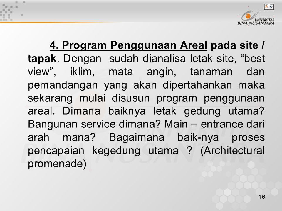 16 4.Program Penggunaan Areal pada site / tapak.