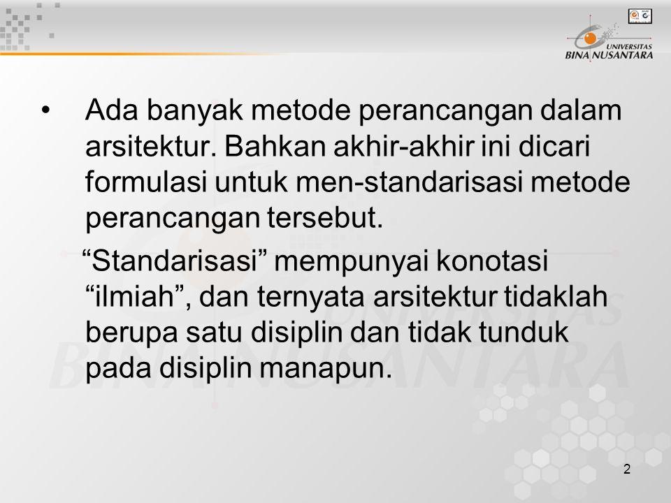 3 Tetapi standarisasi tersebut tidak mungkin tercapai karena masalah, tujuan dan kebutuhan dari masing-masing proyek tidak sama.