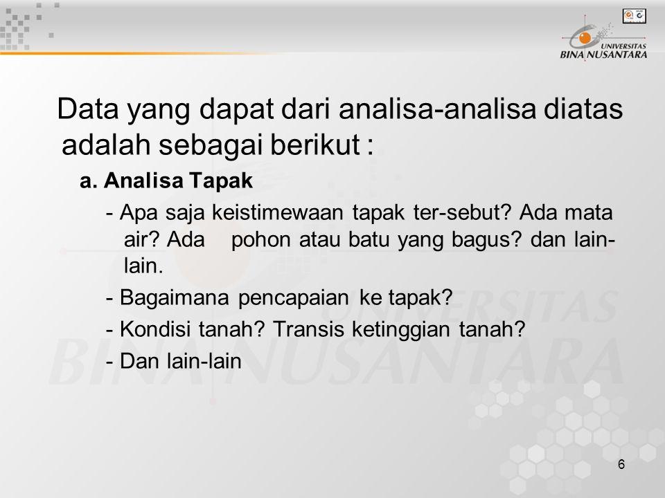 6 Data yang dapat dari analisa-analisa diatas adalah sebagai berikut : a.