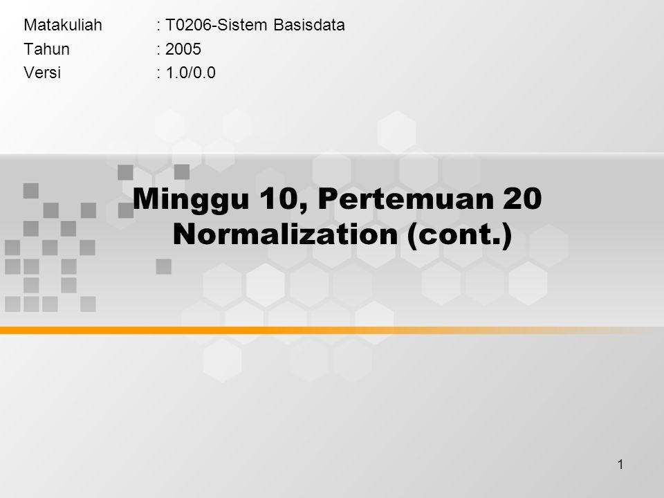 1 Minggu 10, Pertemuan 20 Normalization (cont.) Matakuliah: T0206-Sistem Basisdata Tahun: 2005 Versi: 1.0/0.0