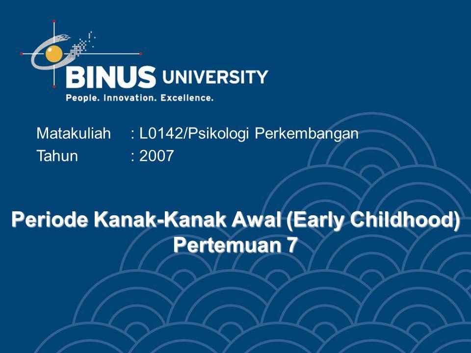 Bina Nusantara Mahasiswa dapat menghubungkan aspek perkembangan fisik, kognitif, dan psikososial dengan issue yang terkait pada periode kanak-kanak awal (Early Childhood) Tujuan Pembelajaran 3