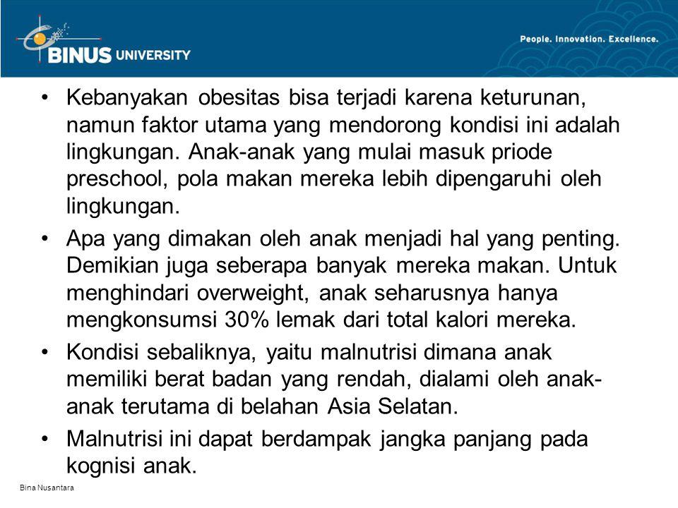 Kebanyakan obesitas bisa terjadi karena keturunan, namun faktor utama yang mendorong kondisi ini adalah lingkungan. Anak-anak yang mulai masuk priode