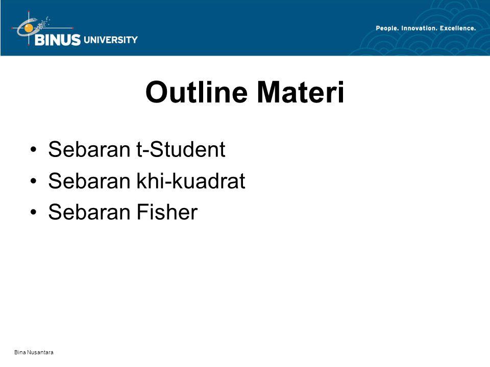 Bina Nusantara Sebaran peluang kontinu yang bentuknya istimewa sangat banyak, 5 diantaranya adalah : Sebaran Normal Sebaran Lognormal Sebaran t-Student Sebaran Khi-kuadrat Sebaran Fisher