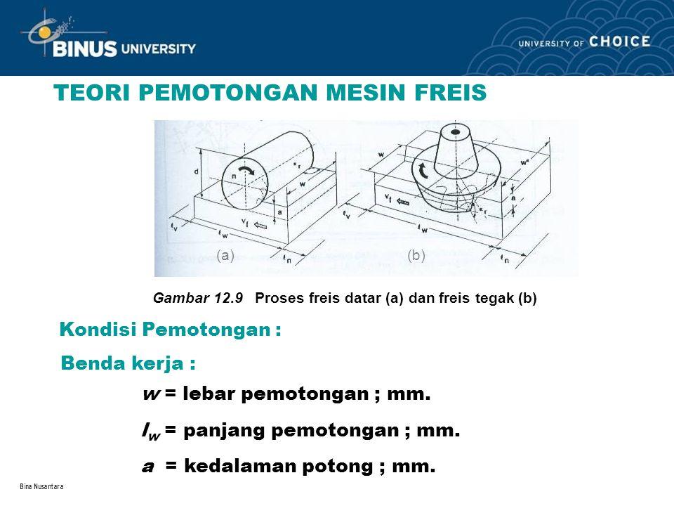 Bina Nusantara TEORI PEMOTONGAN MESIN FREIS (a) (b) Gambar 12.9 Proses freis datar (a) dan freis tegak (b) Kondisi Pemotongan : Benda kerja : w = leba