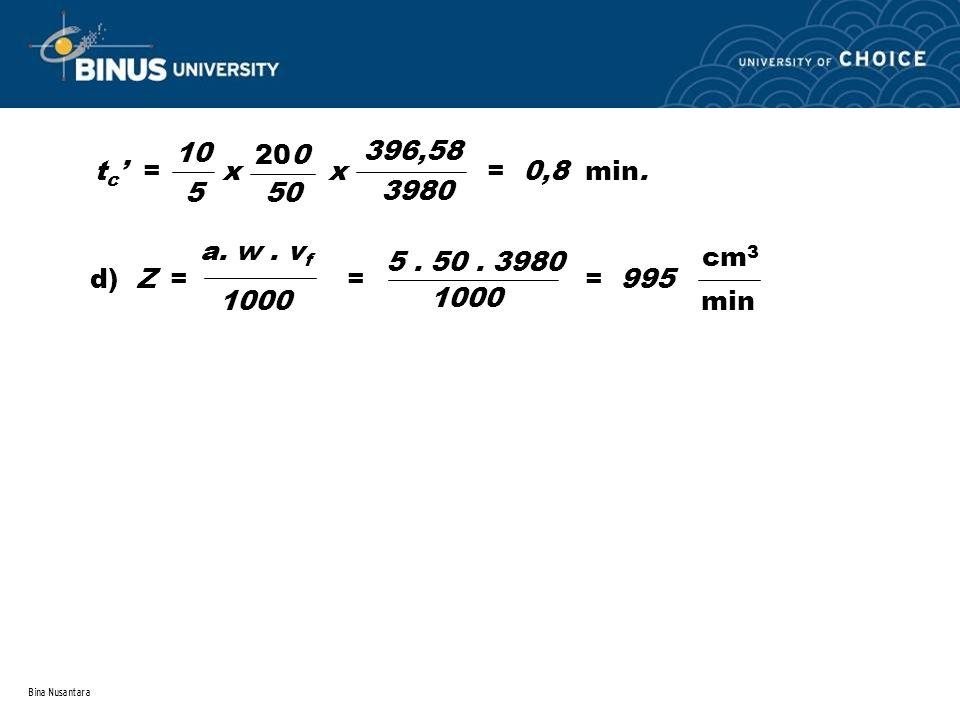 Bina Nusantara t c ' = x x = 0,8 min. 10 5 50 200 396,58 3980 d) Z = = = 995 cm 3 min a. w. v f 1000 5. 50. 3980 1000