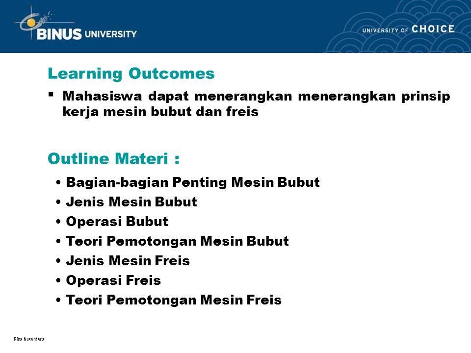 Bina Nusantara Learning Outcomes Outline Materi : Mahasiswa dapat menerangkan menerangkan prinsip kerja mesin bubut dan freis. Bagian-bagian Penting M