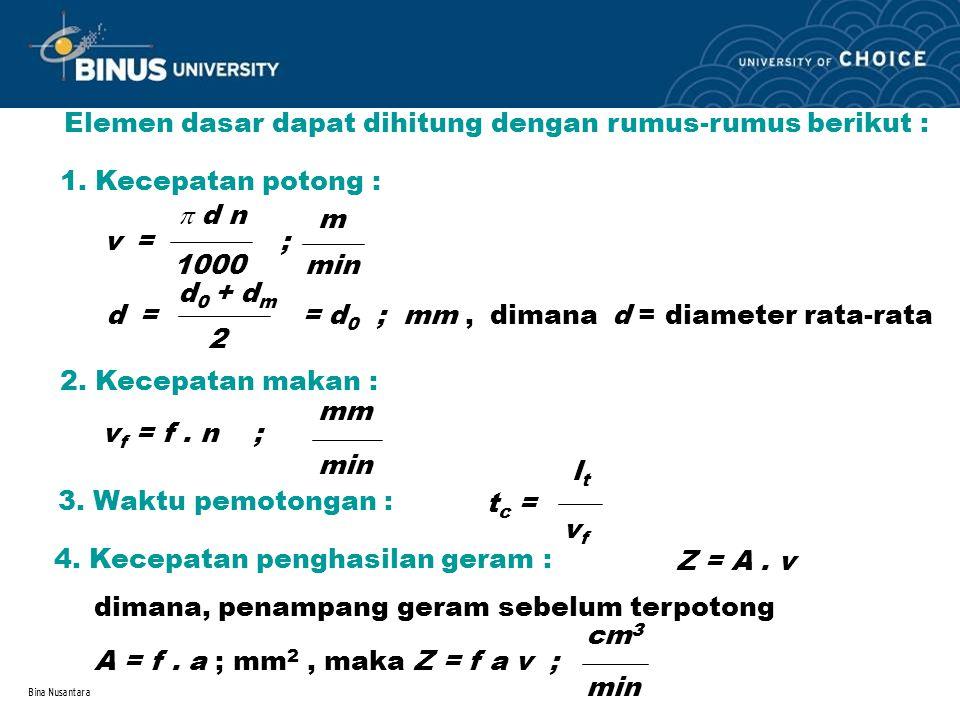 Bina Nusantara Elemen dasar dapat dihitung dengan rumus-rumus berikut : 1. Kecepatan potong : v =  d n 1000 ; m min dimana d = diameter rata-rata d =