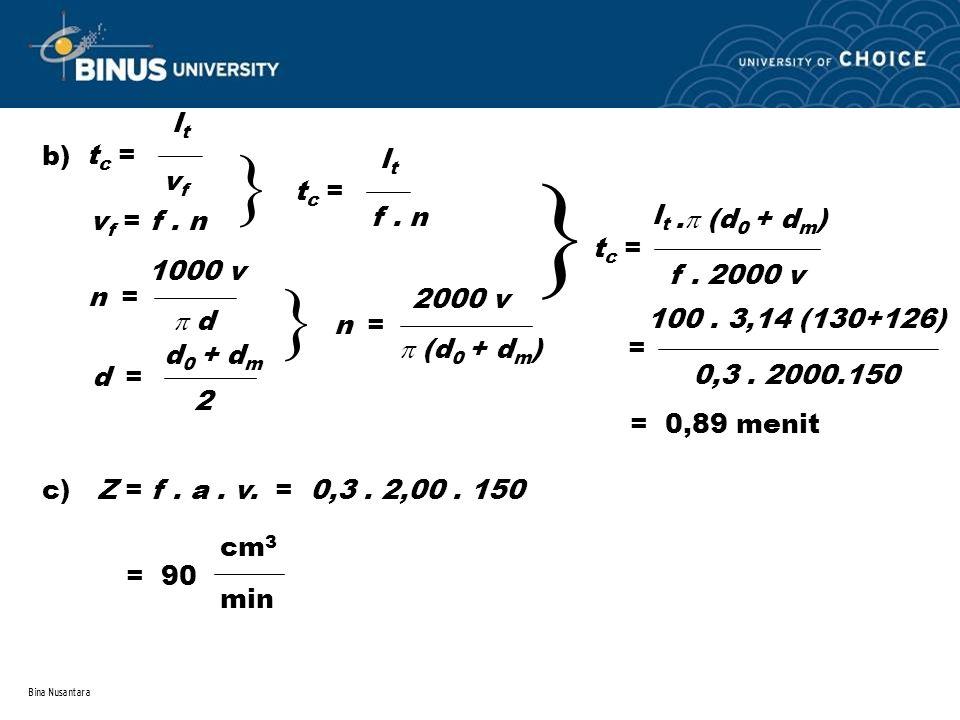 Bina Nusantara b) tc =tc = ltlt v f v f = f. n  tc =tc = ltlt f. n n = 1000 v  d d = d 0 + d m 2  n = 2000 v  (d 0 + d m )  tc =tc = ltlt f. 2000