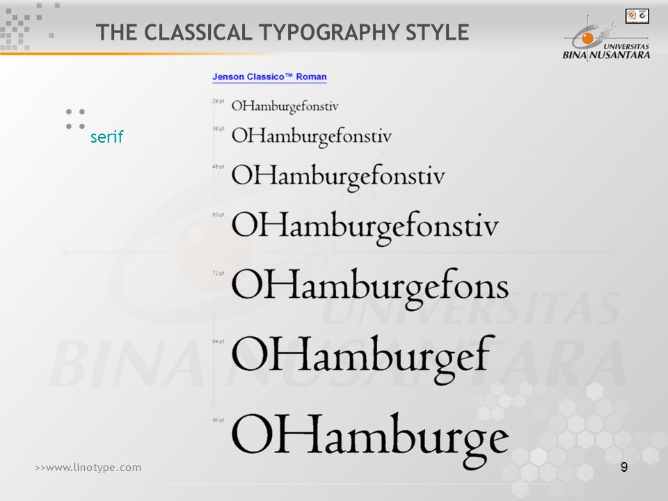 10 script :: THE CLASSICAL TYPOGRAPHY STYLE >>www.linotype.com