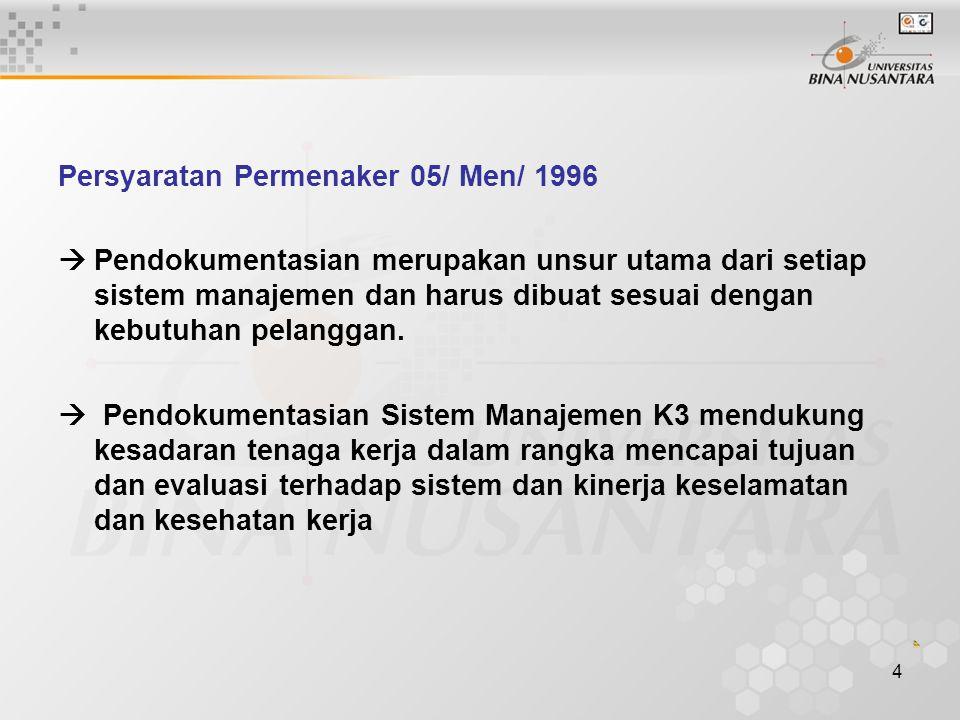 4 Persyaratan Permenaker 05/ Men/ 1996  Pendokumentasian merupakan unsur utama dari setiap sistem manajemen dan harus dibuat sesuai dengan kebutuhan pelanggan.