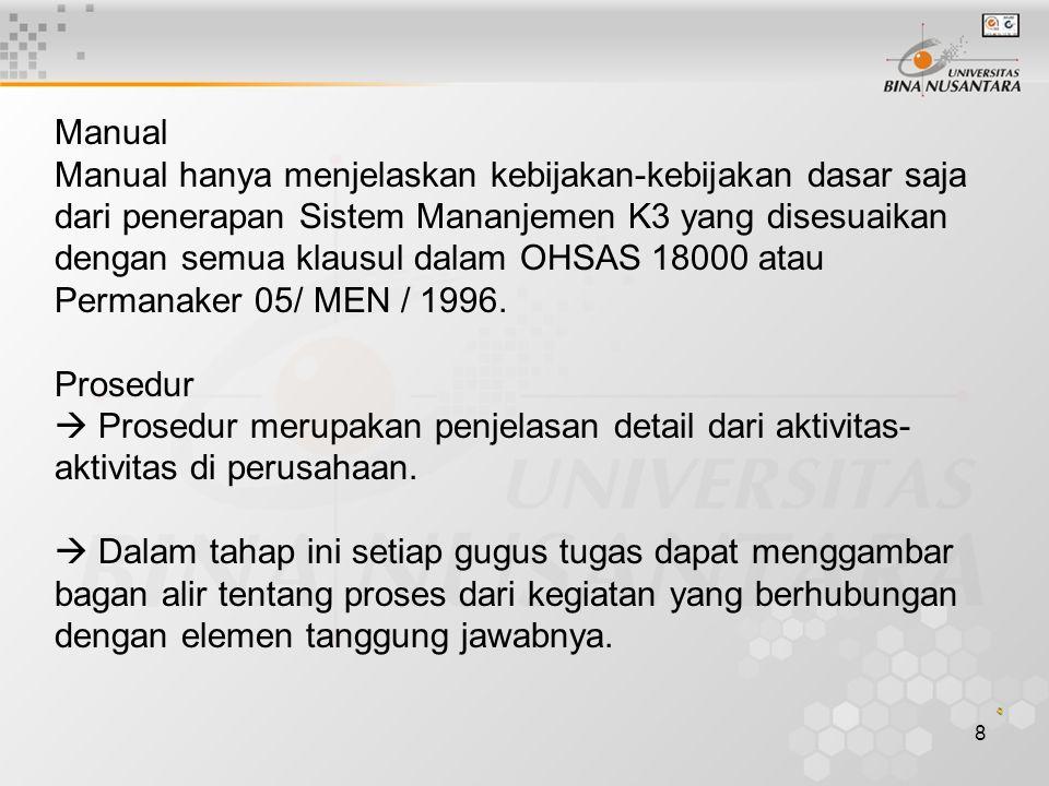 8 Manual Manual hanya menjelaskan kebijakan-kebijakan dasar saja dari penerapan Sistem Mananjemen K3 yang disesuaikan dengan semua klausul dalam OHSAS 18000 atau Permanaker 05/ MEN / 1996.