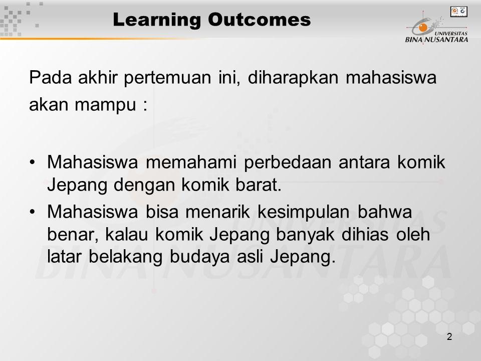 3 Outline Materi Cara menerjemahkan komik Jepang: Membaca dulu keseluruhan isi cerita komik yang akan diterjemahkan Jangan terlibat emosi oleh tokoh siapapun Jangan menginterpretasikan sendiri kalimat- kalimat yang akan diterjemahkan Mencoba menerjemahkan Membaca kembali hasil terjemahan Menyempurnakan bahasa Indonesianya