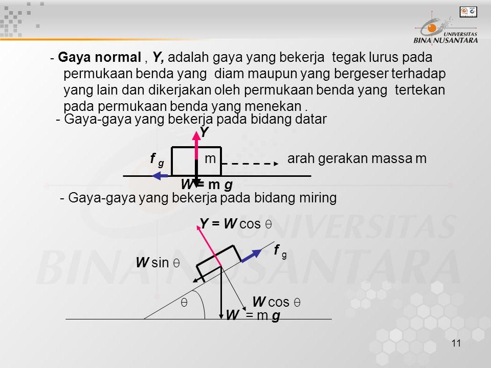 11 - Gaya normal, Y, adalah gaya yang bekerja tegak lurus pada permukaan benda yang diam maupun yang bergeser terhadap yang lain dan dikerjakan oleh p