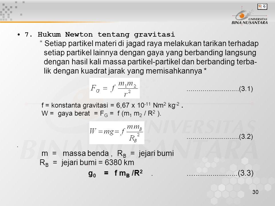 """30 7. Hukum Newton tentang gravitasi """" Setiap partikel materi di jagad raya melakukan tarikan terhadap setiap partikel lainnya dengan gaya yang berban"""