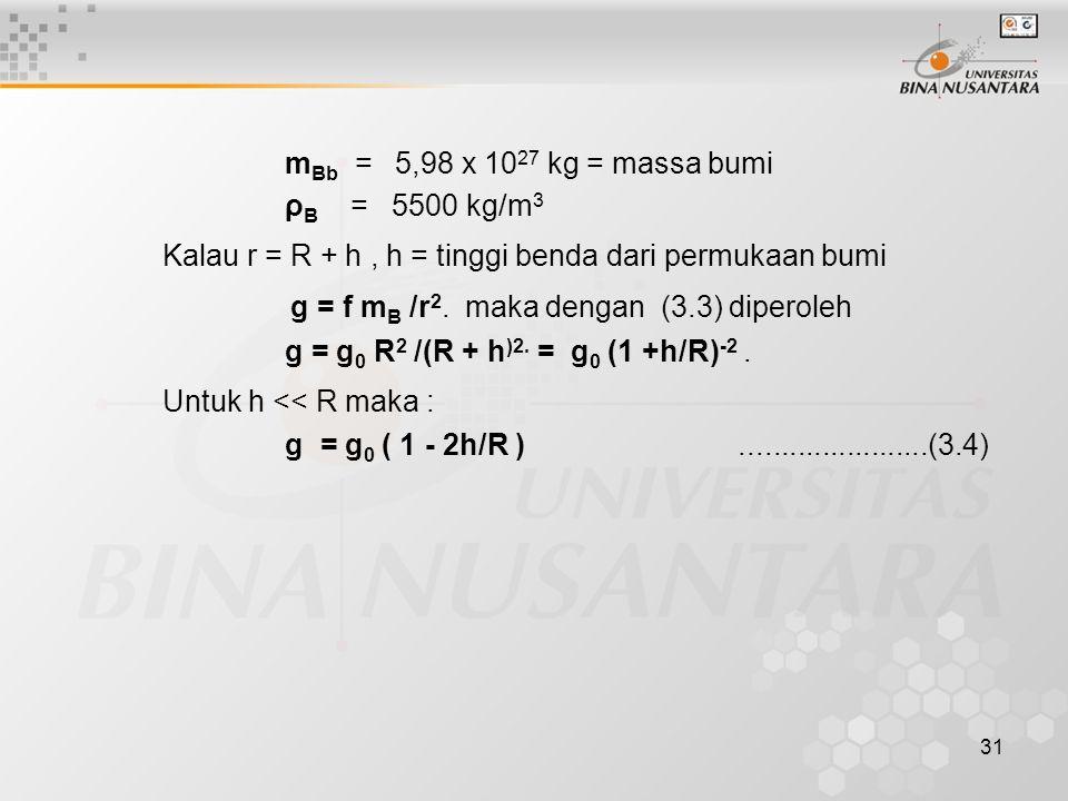 31 m Bb = 5,98 x 10 27 kg = massa bumi ρ B = 5500 kg/m 3 Kalau r = R + h, h = tinggi benda dari permukaan bumi g = f m B /r 2. maka dengan (3.3) diper