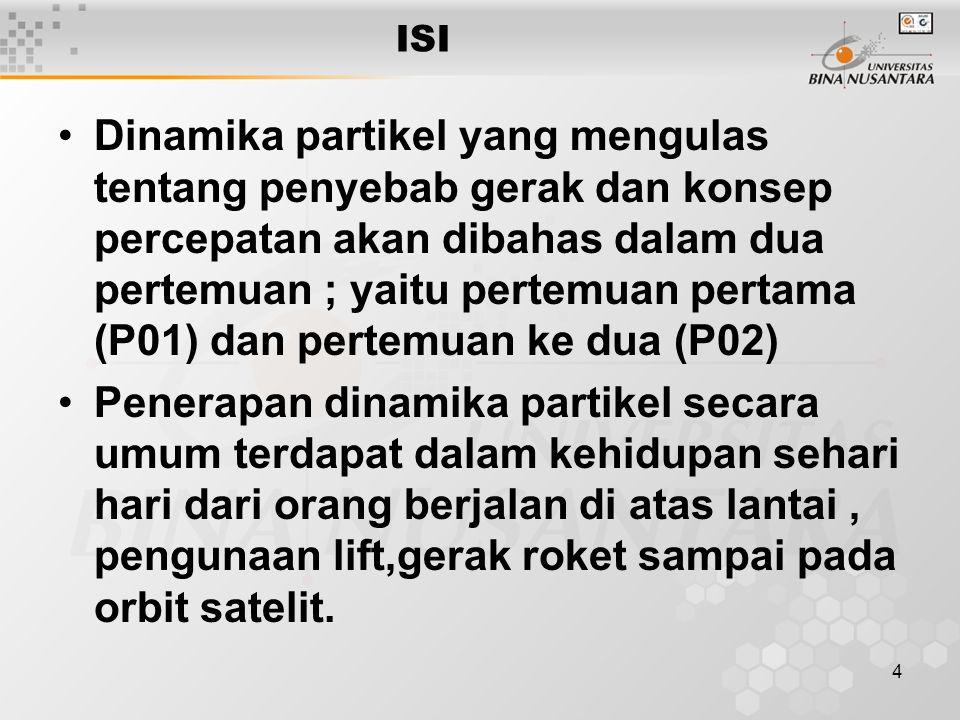 4 ISI Dinamika partikel yang mengulas tentang penyebab gerak dan konsep percepatan akan dibahas dalam dua pertemuan ; yaitu pertemuan pertama (P01) da