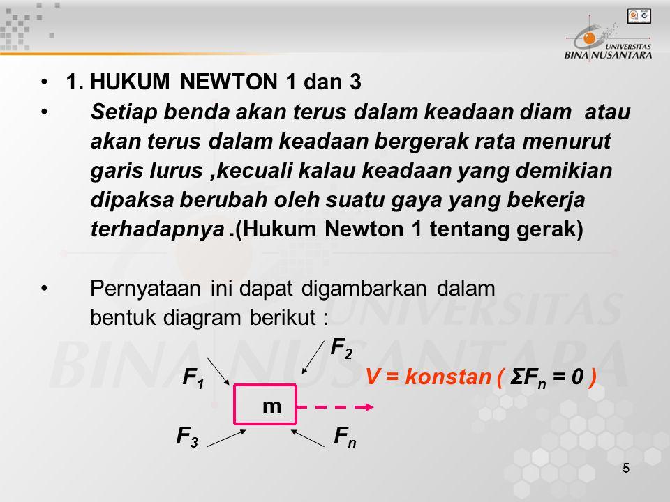 6 Massa m bergerak dengan kecepatan konstan v atau v = 0 dan gaya-gaya F bekerja pada massa m dari segala arah Makna Hukum Newton 1: Sekali sebuah benda dibuat bergerak maka tidak diperlu kan gaya lagi untuk membuat benda tersebut tetap bergerak.