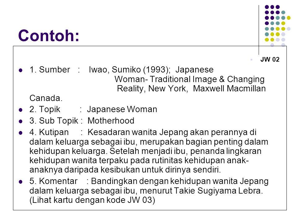 Contoh:  JW 02 1.