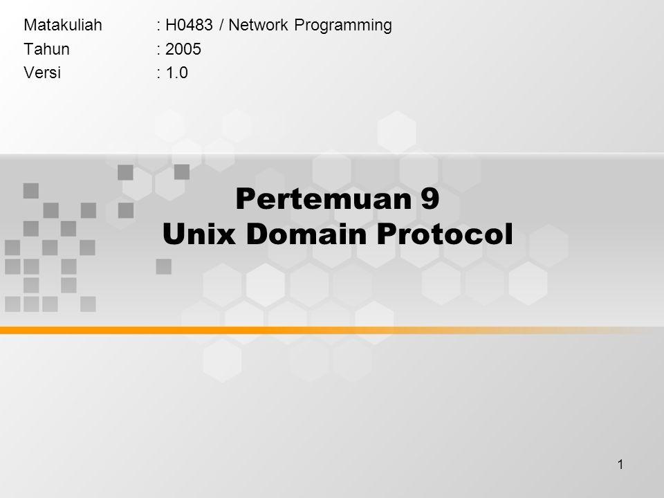 1 Pertemuan 9 Unix Domain Protocol Matakuliah: H0483 / Network Programming Tahun: 2005 Versi: 1.0