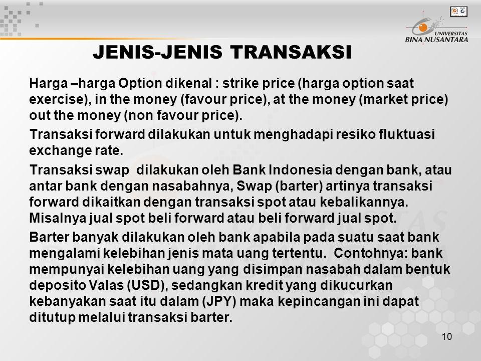 10 JENIS-JENIS TRANSAKSI Harga –harga Option dikenal : strike price (harga option saat exercise), in the money (favour price), at the money (market price) out the money (non favour price).