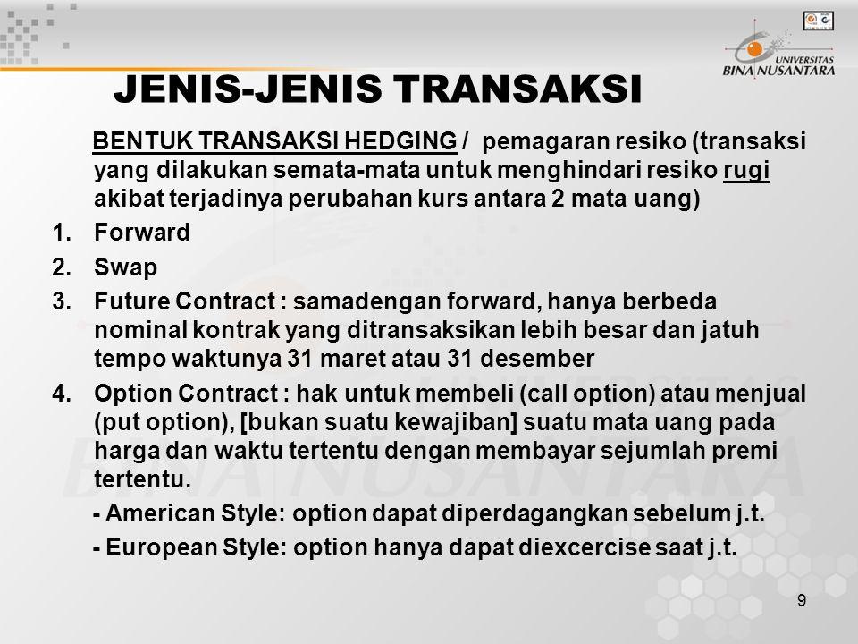 9 JENIS-JENIS TRANSAKSI BENTUK TRANSAKSI HEDGING / pemagaran resiko (transaksi yang dilakukan semata-mata untuk menghindari resiko rugi akibat terjadinya perubahan kurs antara 2 mata uang) 1.Forward 2.Swap 3.Future Contract : samadengan forward, hanya berbeda nominal kontrak yang ditransaksikan lebih besar dan jatuh tempo waktunya 31 maret atau 31 desember 4.Option Contract : hak untuk membeli (call option) atau menjual (put option), [bukan suatu kewajiban] suatu mata uang pada harga dan waktu tertentu dengan membayar sejumlah premi tertentu.