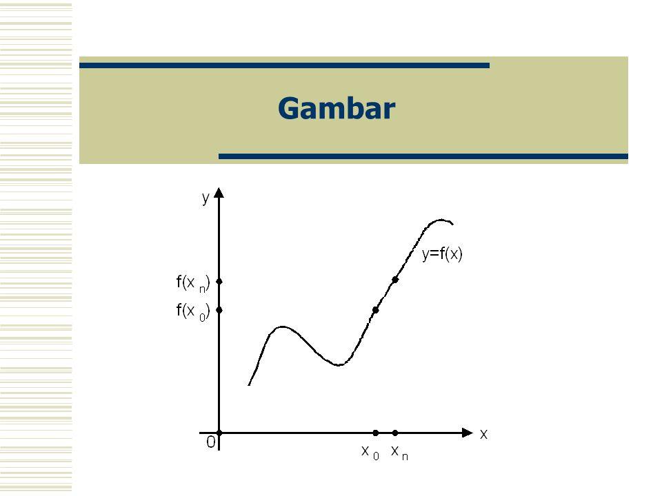 Definisi Suatu fungsi f: D  R dengan D  R disebut kontinu pada titik x 0 dalam D bila untuk setiap barisan {x n } dalam D yang konvergen ke x 0, bar