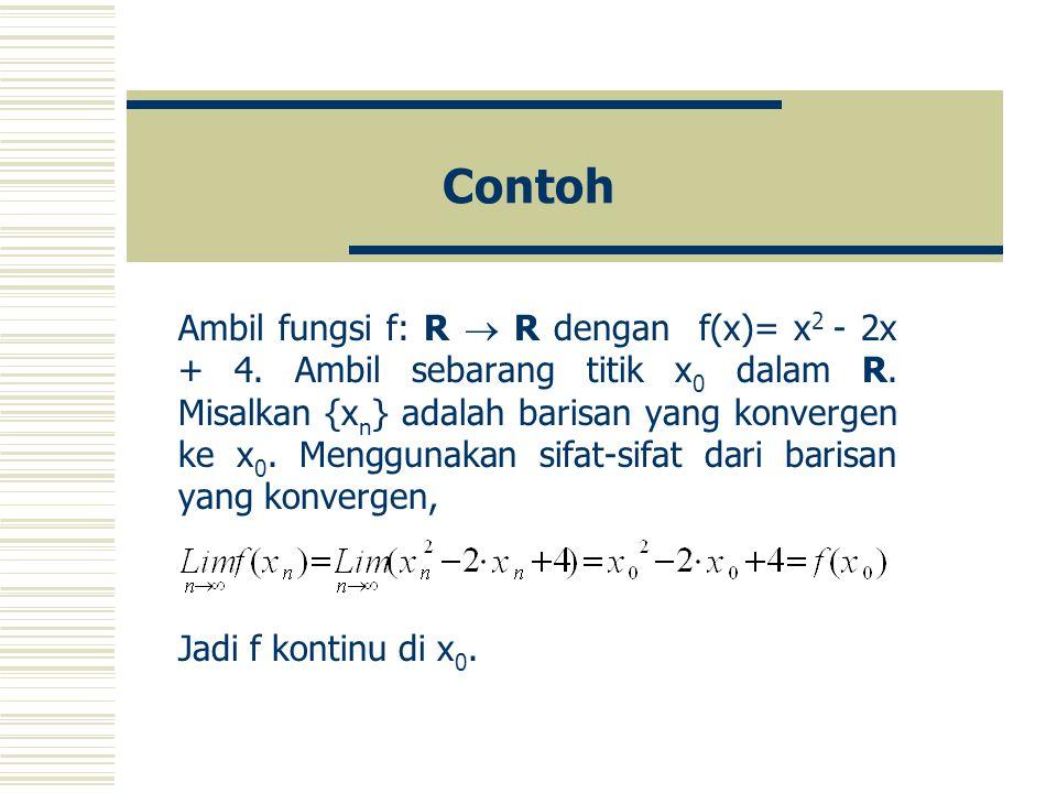 Contoh Ambil fungsi f: R  R dengan f(x)= x 2 - 2x + 4.
