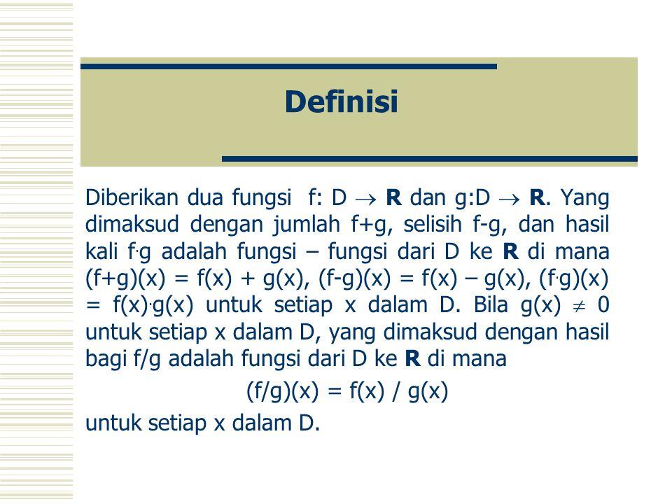 Definisi Diberikan dua fungsi f: D  R dan g:D  R.