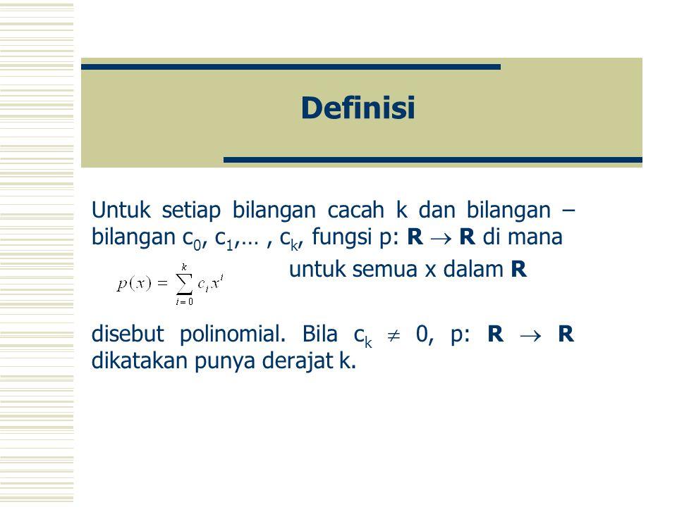 Teorema Diberikan fungsi – fungsi f: D  R dan g: D  R yang kontinu di x 0 dalam D. Maka, jumlah f+g : D  Rkontinu di x 0, Selisih f-g : D  Rkontin