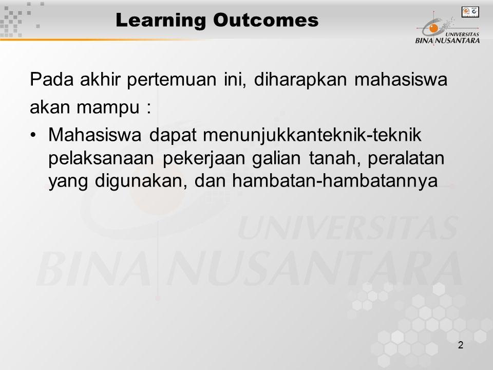 2 Learning Outcomes Pada akhir pertemuan ini, diharapkan mahasiswa akan mampu : Mahasiswa dapat menunjukkanteknik-teknik pelaksanaan pekerjaan galian