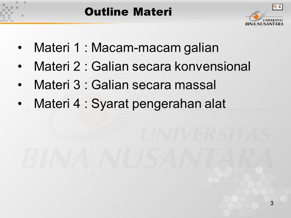 3 Outline Materi Materi 1 : Macam-macam galian Materi 2 : Galian secara konvensional Materi 3 : Galian secara massal Materi 4 : Syarat pengerahan alat