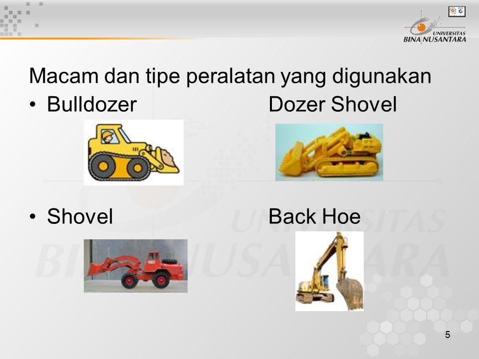 5 Macam dan tipe peralatan yang digunakan BulldozerDozer Shovel ShovelBack Hoe