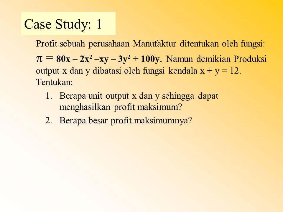 Case Study: 1 Profit sebuah perusahaan Manufaktur ditentukan oleh fungsi:  = 80x – 2x 2 –xy – 3y 2 + 100y. Namun demikian Produksi output x dan y dib