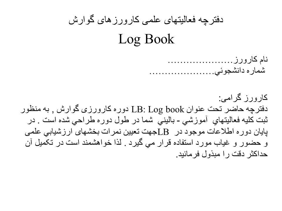 دفترچه فعالیتهای علمی کارورزهای گوارش Log Book نام کارورز ………………… شماره دانشجوئي ………………… کارورز گرامی : دفترچه حاضر تحت عنوان LB: Log book دوره کارورزی گوارش, به منظور ثبت کليه فعاليتهاي آموزشي - باليني شما در طول دوره طراحي شده است.