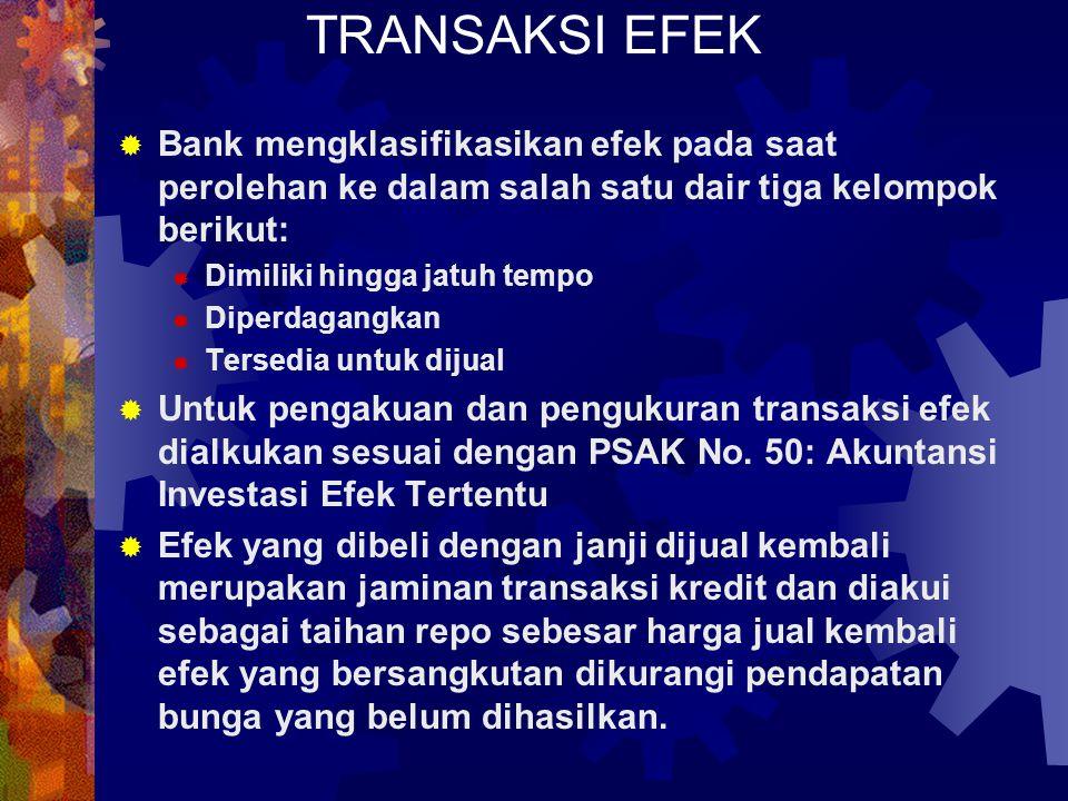 PENGAKUAN & PENGUKURAN TRANSAKSI EFEK  Bank mengklasifikasikan efek pada saat perolehan ke dalam salah satu dair tiga kelompok berikut:  Dimiliki hi